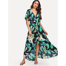 Jungle Leaf Print Self Belted Wrap Maxi Dress