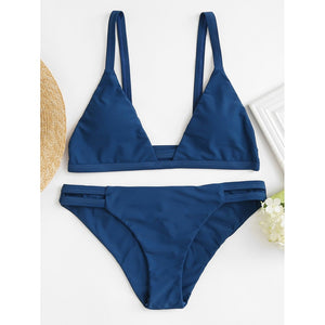 Blue Ruched Detail Bikini Set