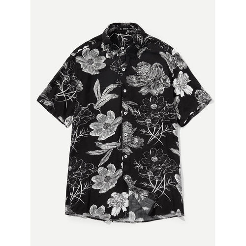 Black Men Button Up Floral Top