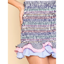 Striped Tiered Ruffle Hem Smock Skirt