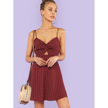 Polka Dot Twist Front Knot Back Cami Dress