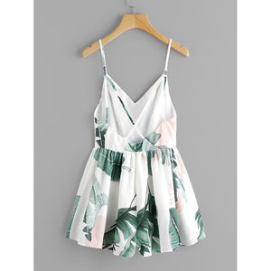 Jungle Leaf Print Crisscross Back Princess Seam Playsuit