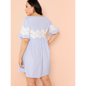 Lace Applique Pinstripe Swing Dress