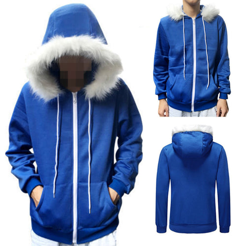 Unisex Blue Fleece Hooded Jacket