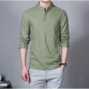 Men's Long Sleeved Cotton and Linen Shirt