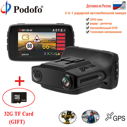 Podofo Car DVR Radar Detector GPS 3 in 1 Car-detector Camera