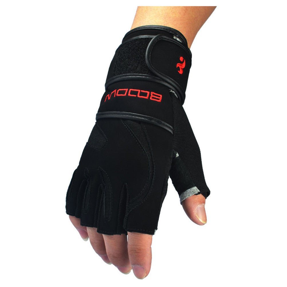 Leather Weight Lifting Gloves with Adjustable Wrist Wraps