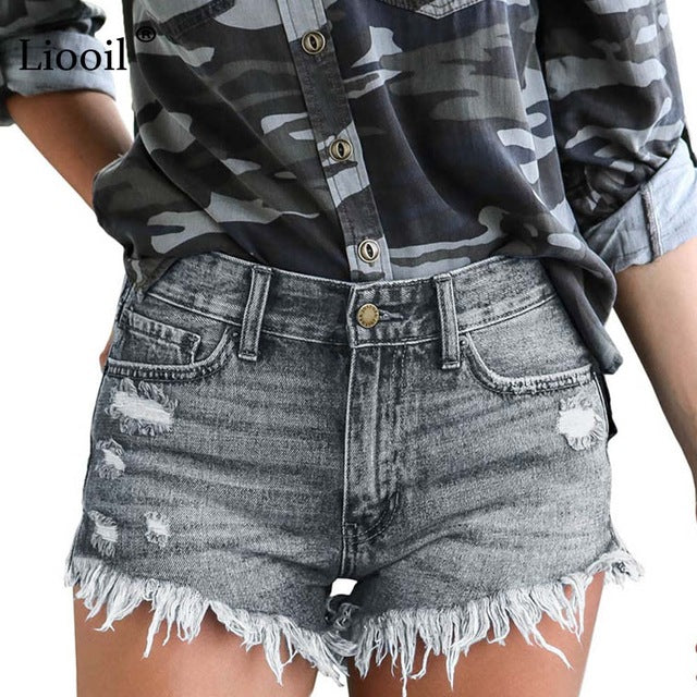 Denim Mid Waisted Shorts