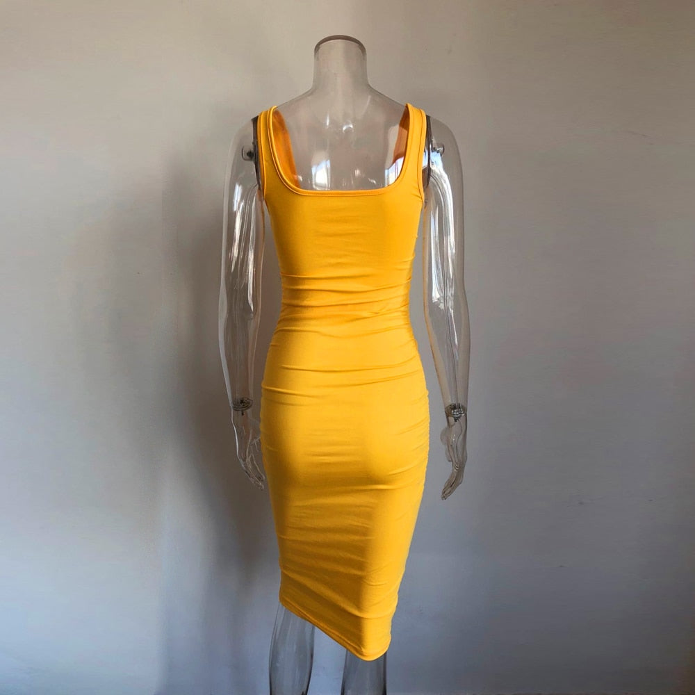 Yellow bodycon sleeveless dress