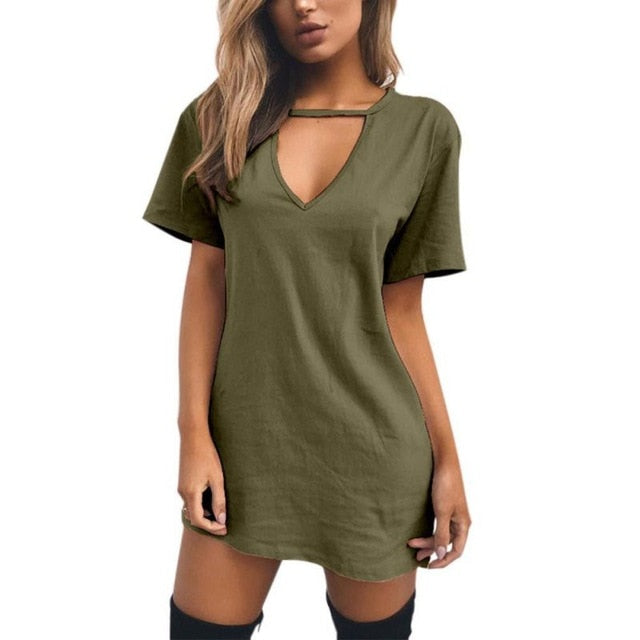 Trendy Choker V-Neck T-Shirt Dress