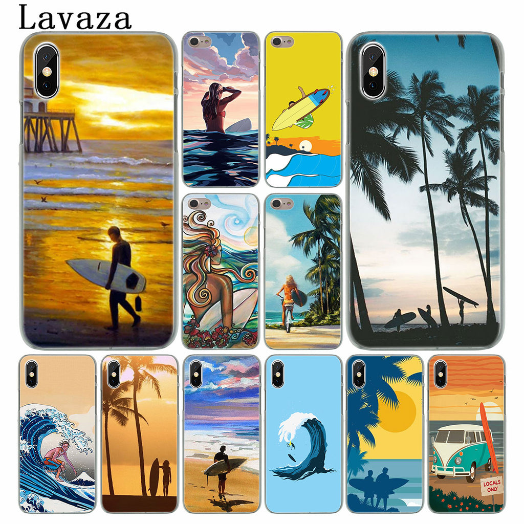 Surfboard Surfing Girl Art Hard Phone Cover Case For iPhone X and iPhone 11 and more!