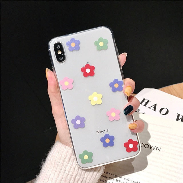 Soft Clear Floral Love Heart Transparent Cover Case For iPhone X and iPhone 11 and more!