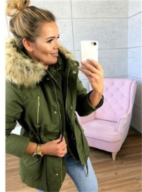 Winter Parka Casual Coat With Faux Fur
