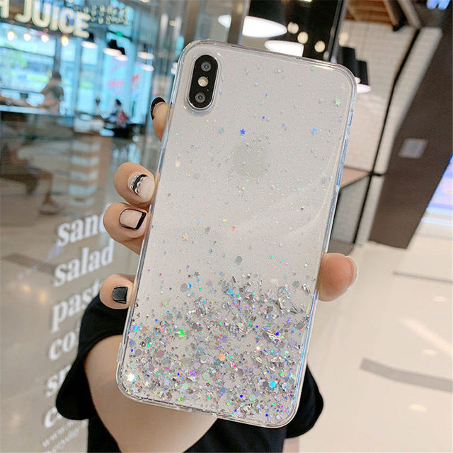 Glitter Soft Transparent Cover Case For iPhone X and iPhone 11 and more!