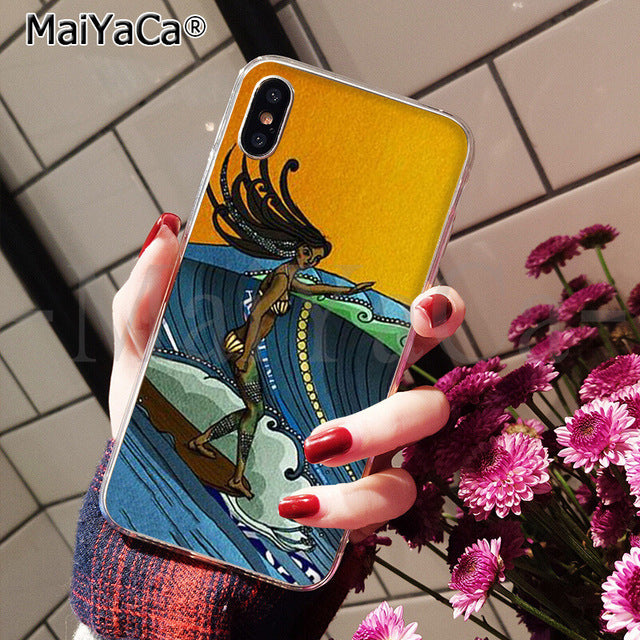 Surfboard Surfing Girl Art Soft Cover Case For iPhone X and iPhone 11 and more!