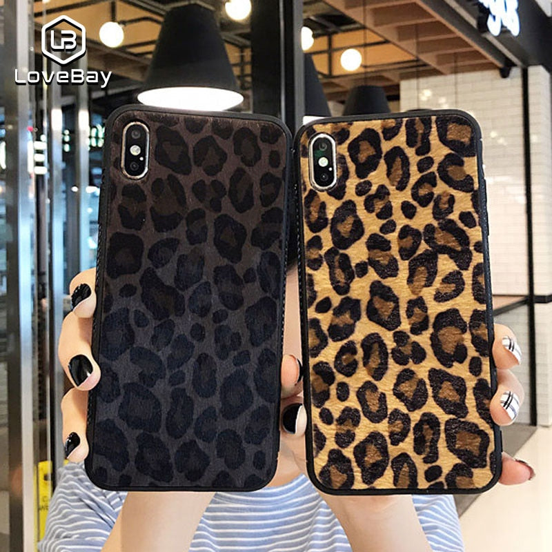 Plush Leopard Print Hard Cover Case For iPhone X and iPhone 11 and more!