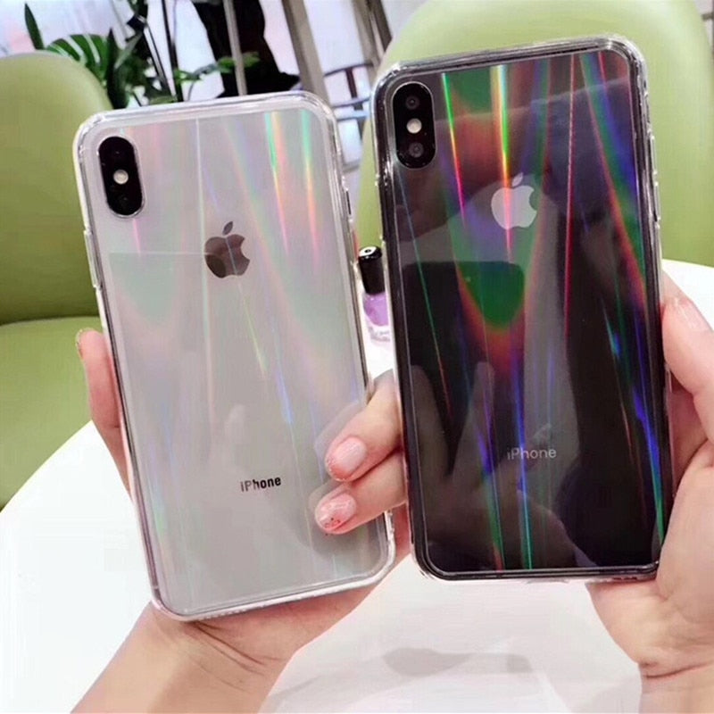 Transparent Laser Rainbow Phone Case for iPhone X and iPhone 11 and more!