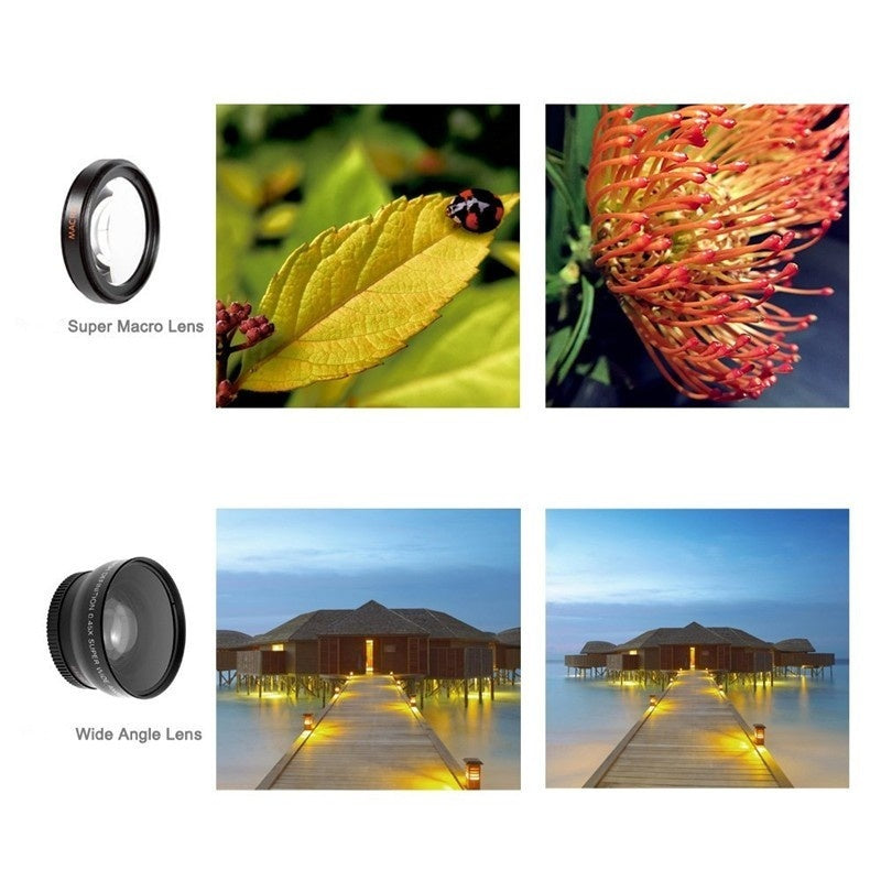 3 In 1 Fish Eye Lens Camera Kit - great for TikTok. Includes Universal Wide Angle, Macro and Fisheye lenses for iPhone X, iPhone 11 and Samsung