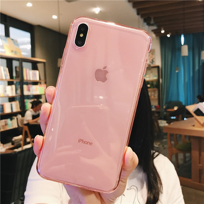 Clear Solid Candy Color Cover Case For iPhone X and iPhone 11 and more!