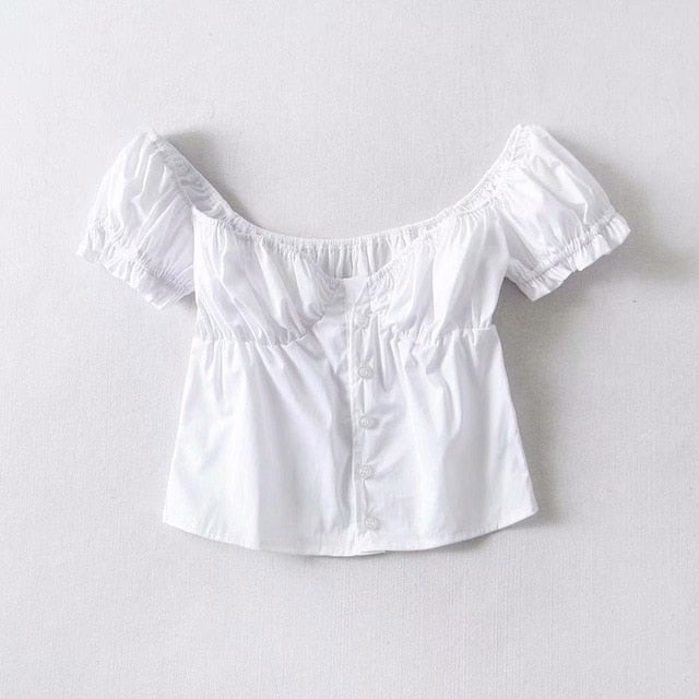 White puff sleeve crop top