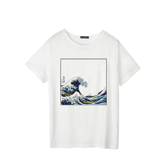 Wave Print Short-Sleeved T-Shirt