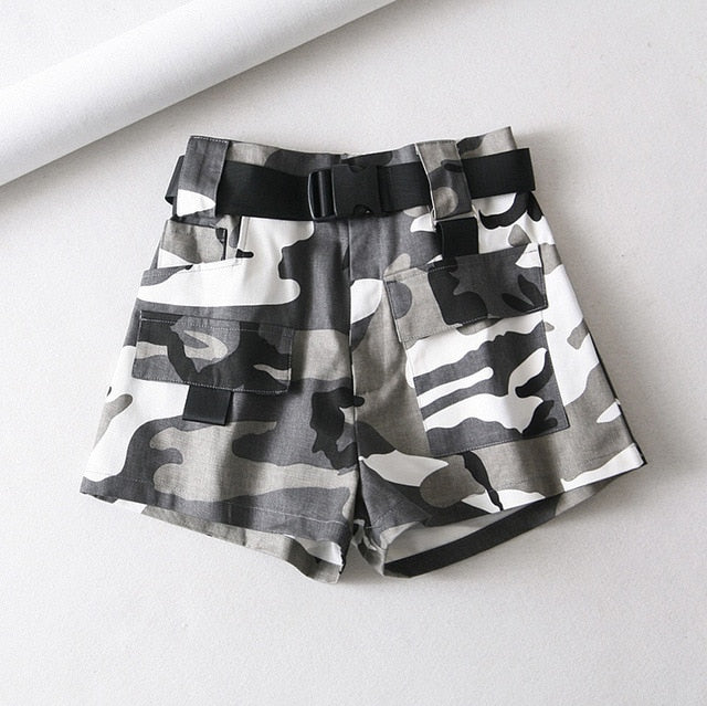 Cotton High Waist Shorts with Belt