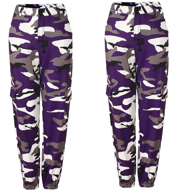 New Women's Camo Cargo High Waist Hot Capri Pants