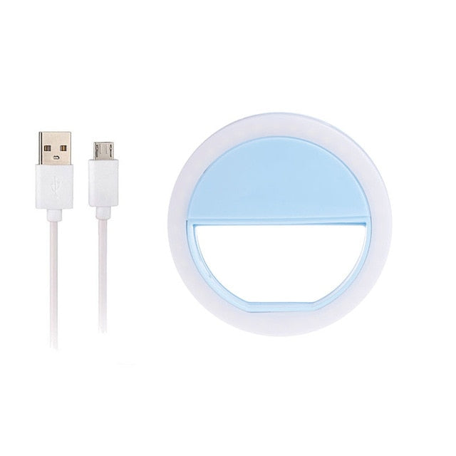 Selfie Light Ring Plus USB Charging Cord for IPhone, Samsung