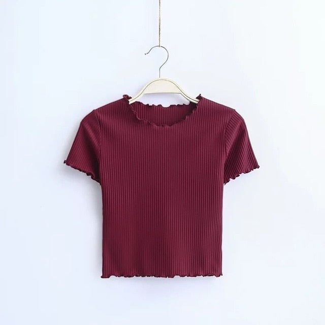 Retro Short Sleeve Crop T-Shirt