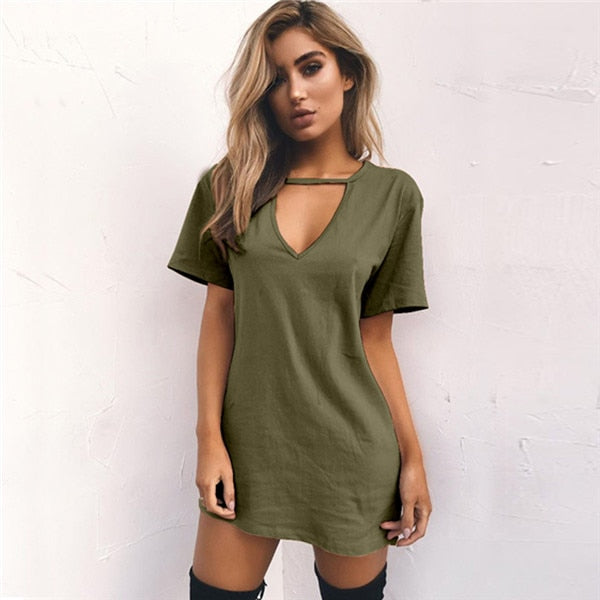 Trendy Choker V-Neck T Shirt Dress