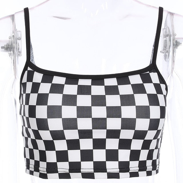 Sleeveless Checkerboard Cropped Cami Tank Top