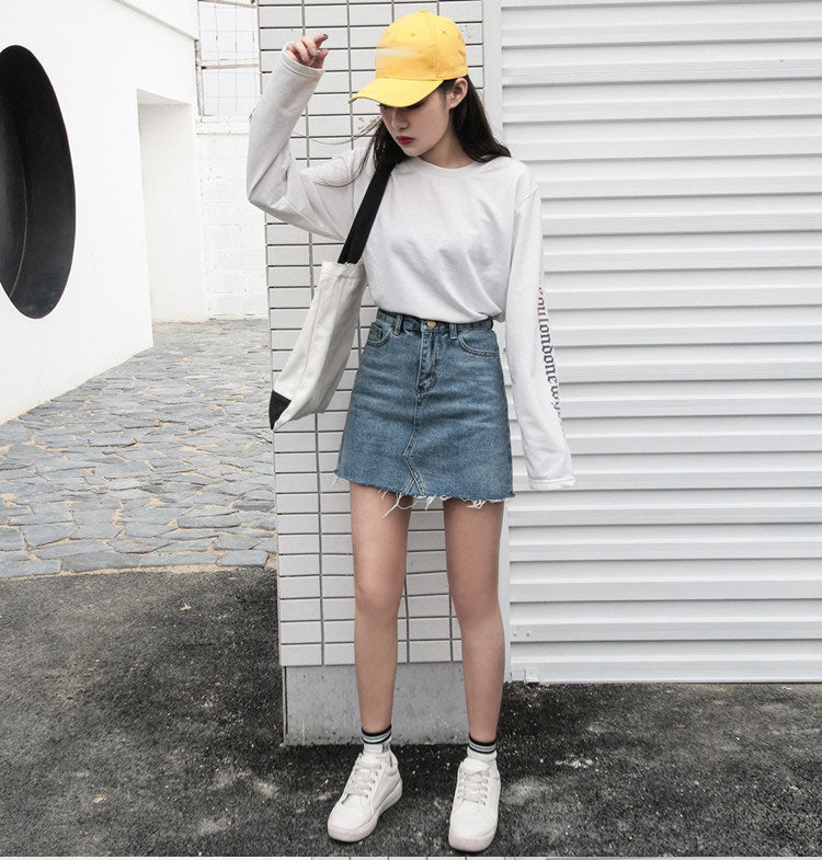 Solid Casual High Waist Denim Skirt
