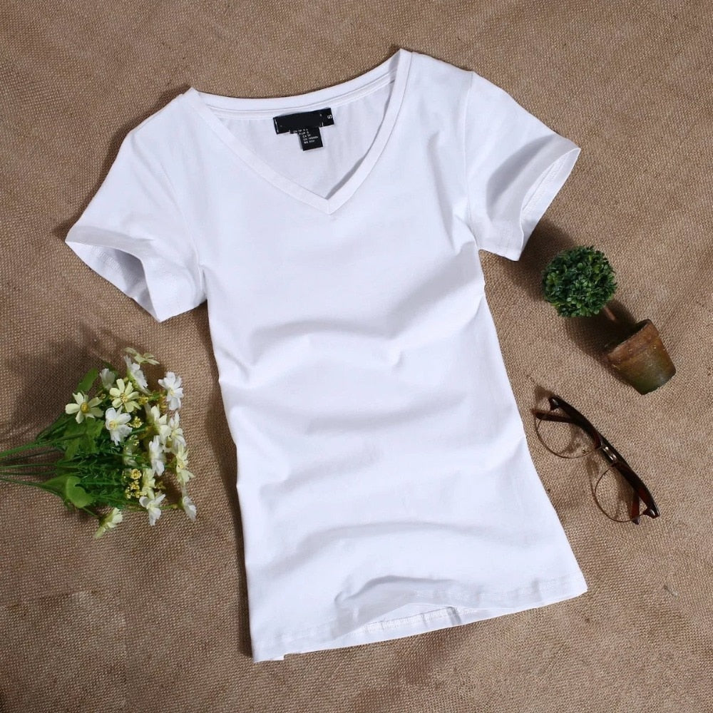 Women's Solid V Neck T Shirt