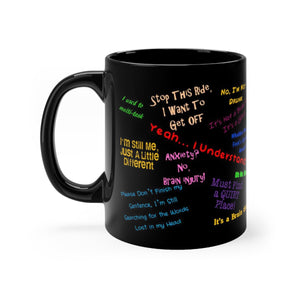 TBI Thoughts Brain Bling Black mug 11oz