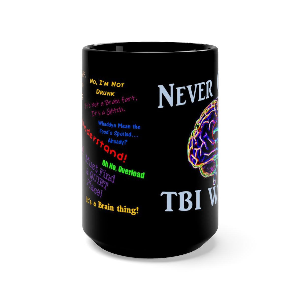 TBI Thoughts Brain Bling Black Mug 15oz
