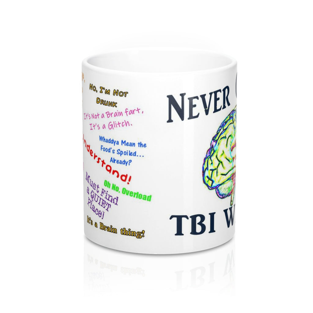 TBI Thoughts Brain Bling Wht Mug 11oz