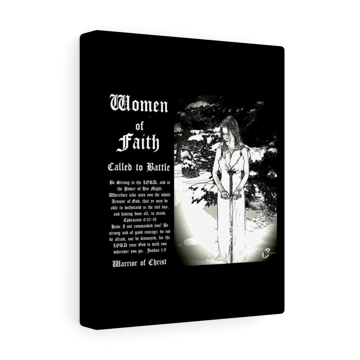 Women of Faith Collection Called to Battle Blk Stretched canvas