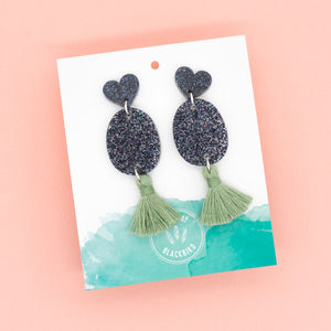 Pop Goes My Heart – Black and Green Dangles