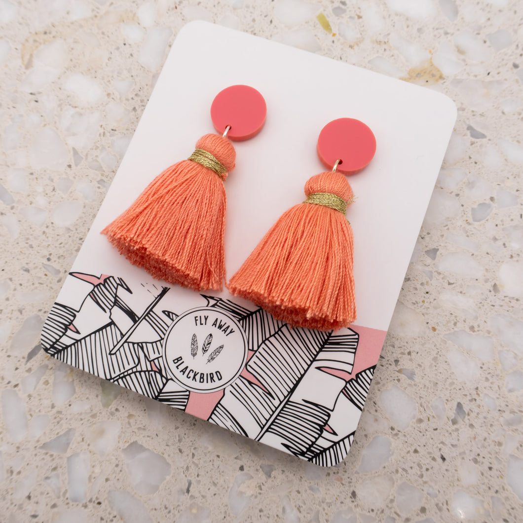 Stud Tassel Dangles - Orange