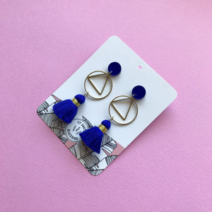 Circle Dangle - Cobalt Blue