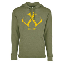 Load image into Gallery viewer, Legion / Reaper Pull Over Hoodie (Heather Military Green / #ffca00) NL 9300
