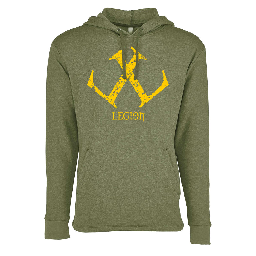 Legion / Reaper Pull Over Hoodie (Heather Military Green / #ffca00) NL 9300