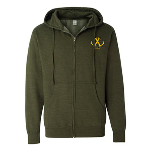 Legion / Reaper Zip Up Hoodie (Army Heather / #ffca00) ITC SS4500Z