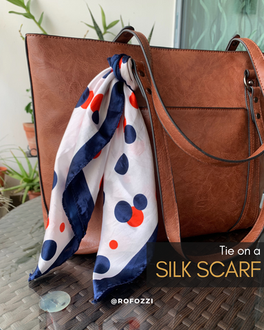 Rofozzi laptop tote with a silk scarf knot