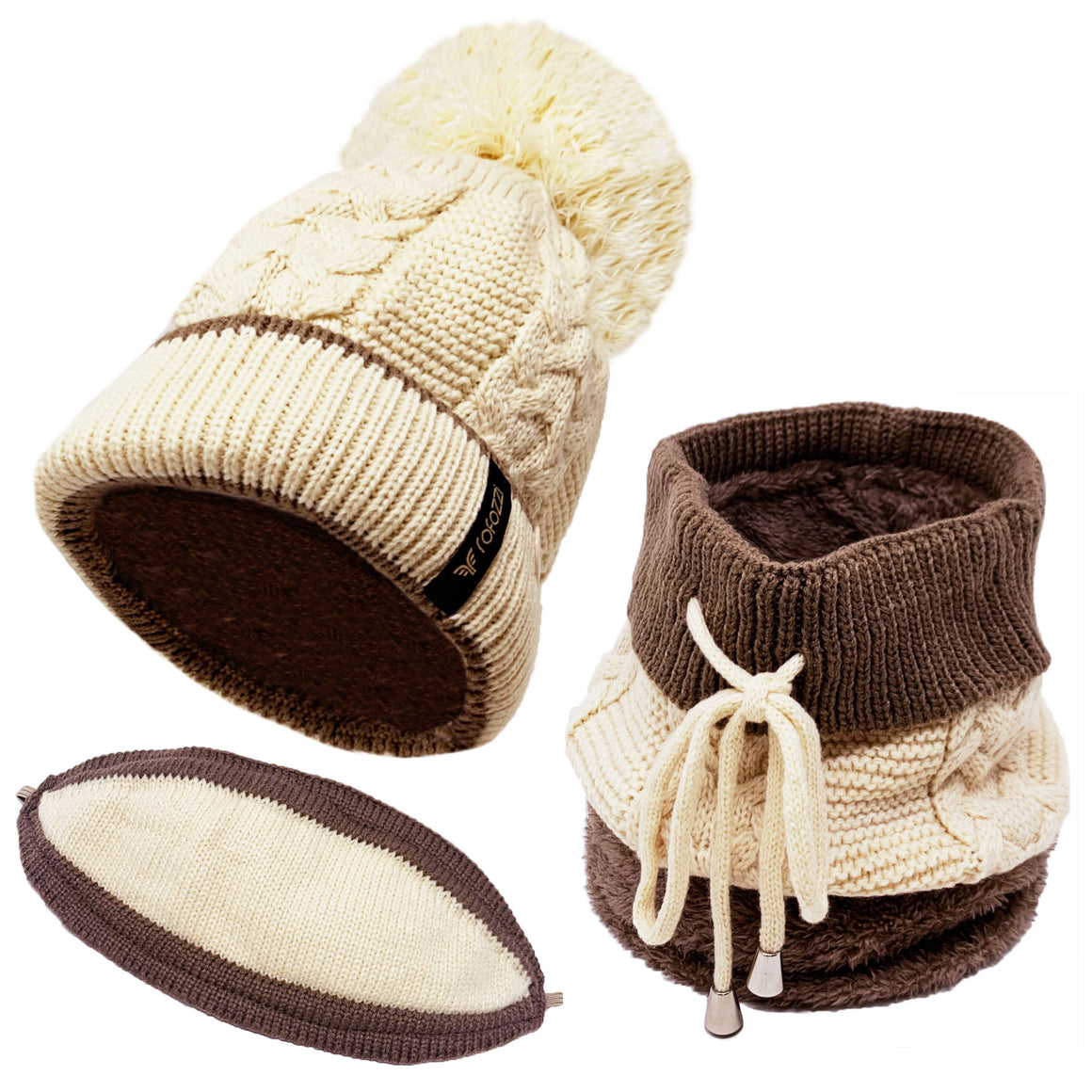 Pompom Beanie Hat Neck Warmer - 3-in-1 - Beige