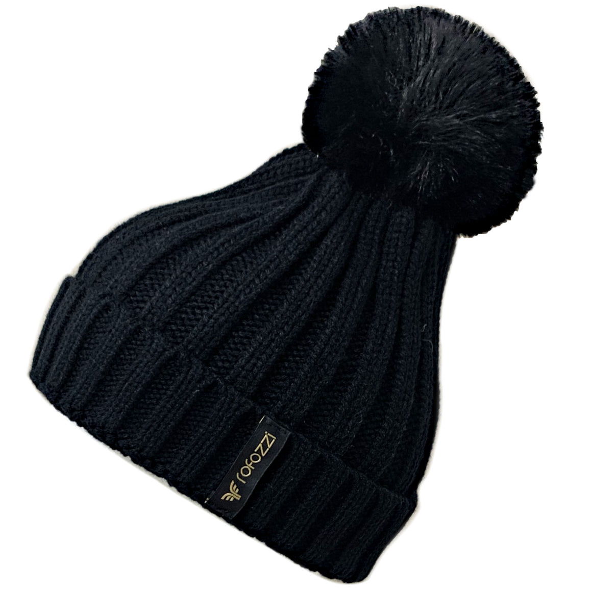 Winter Beanie Pompom Hat Women Detachable Faux Fur Ball - Black