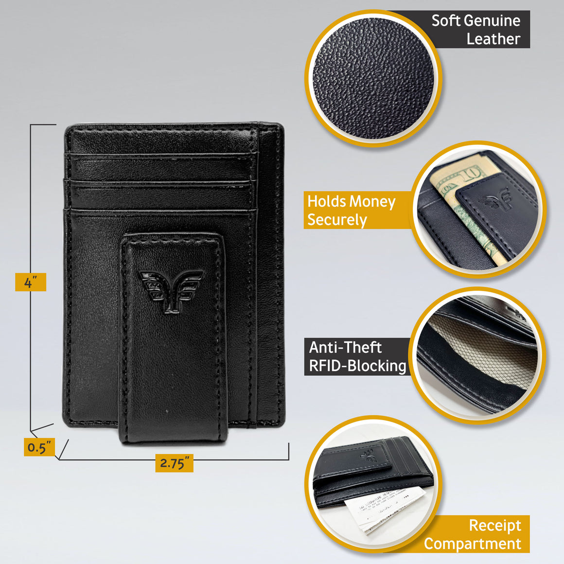 Leather Money Clip - Mens Wallet - Ultra Slim - Black