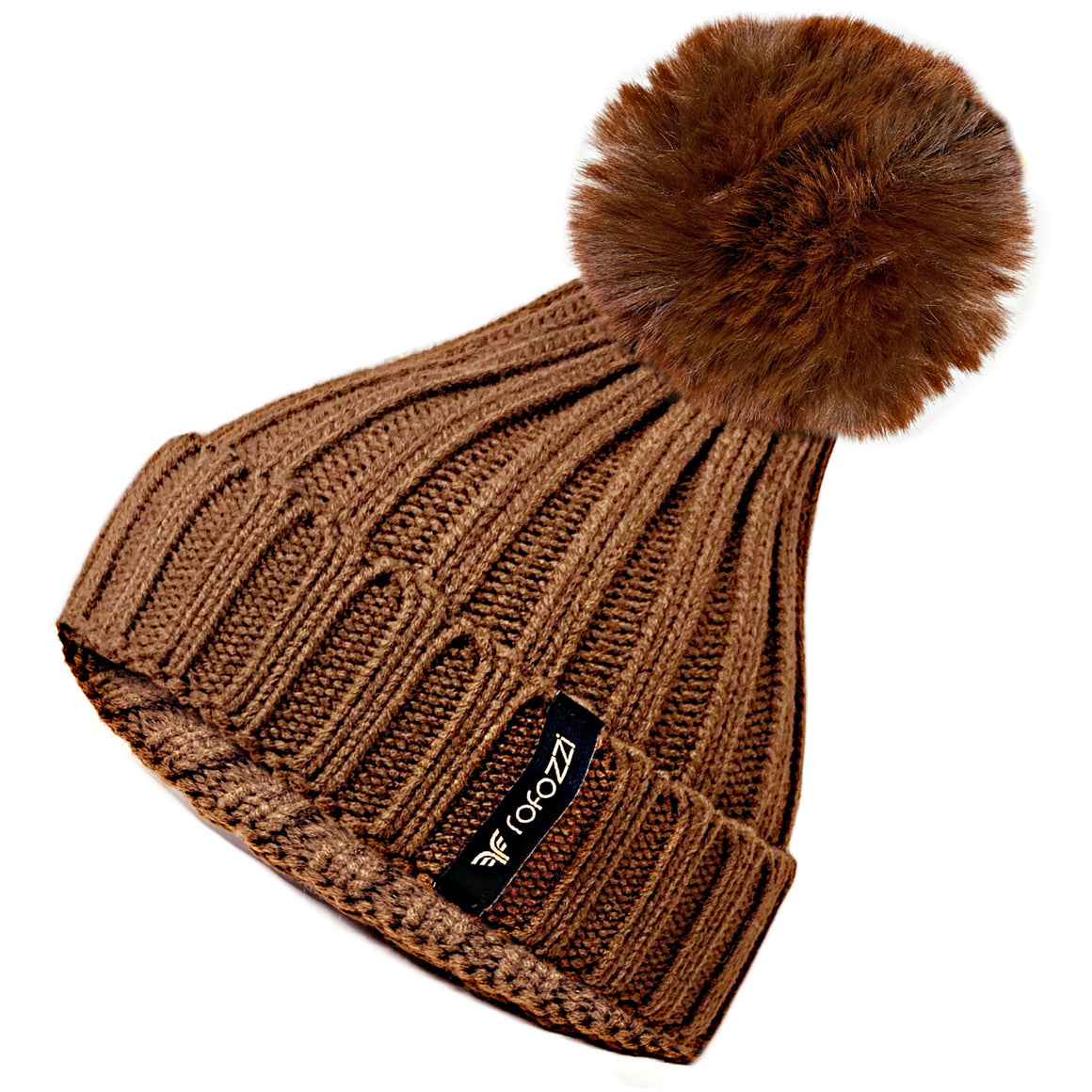 Winter Beanie Pompom Hat Women Detachable Faux Fur Ball - Brown