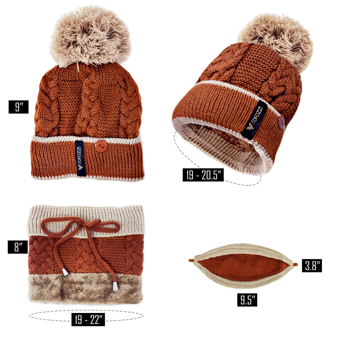Pompom Beanie Hat Neck Warmer - 3-in-1 - Brown