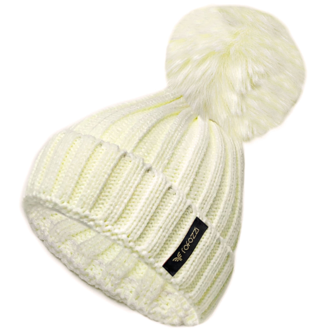 Winter Beanie Pompom Hat Women Detachable Faux Fur Ball - White